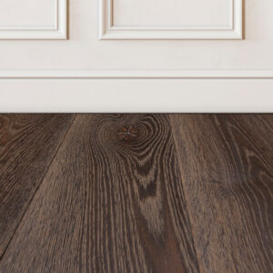 Banff brown wood floor sample on white wall