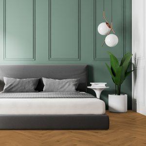 Almond Bedroom - Brown Hardwood Floors
