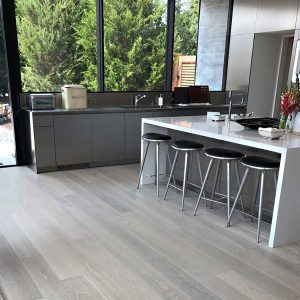 Kitchen with Glacier Floors – Grey Hardwood Flooring
