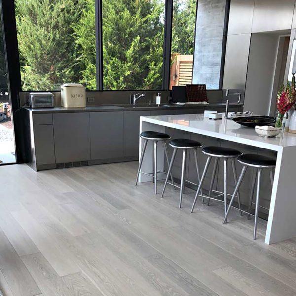 Kitchen with Glacier Floors – Grey Hardwood Flooring