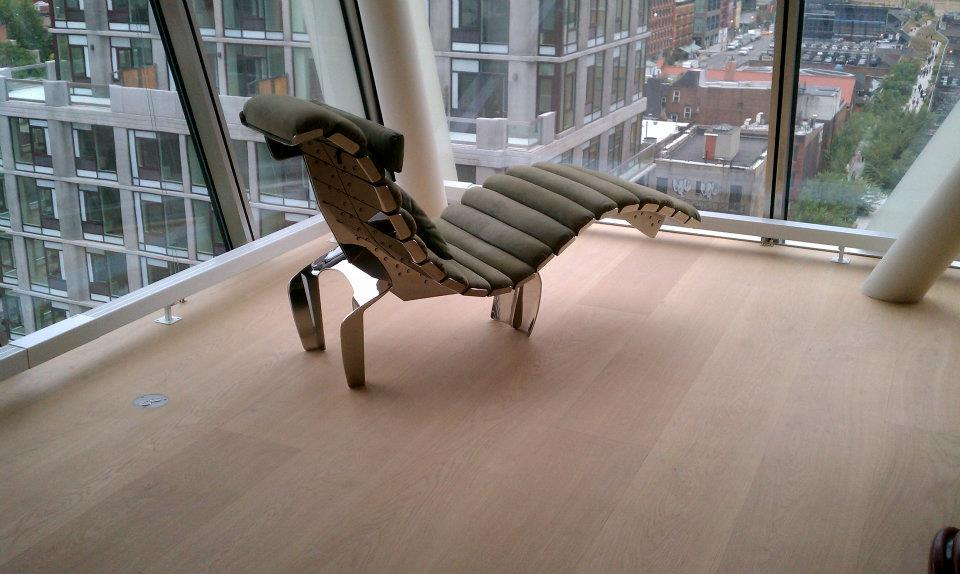 Chair Living Room view High Line 23 NYC Natural Wood Floor