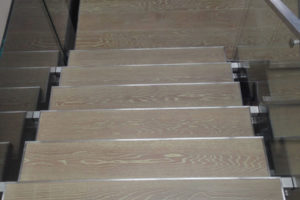Custom Finished White Oak detail of stairs