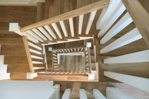 natural wood staircase