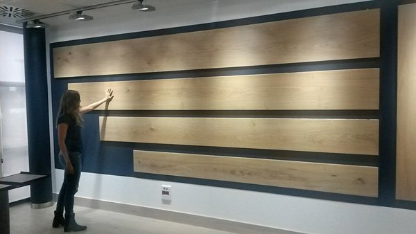 Unfinished wide plank hardwood flooring showroom display