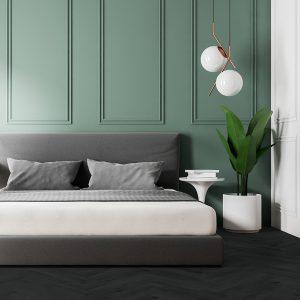 Raven Bedroom – Black Hardwood Flooring