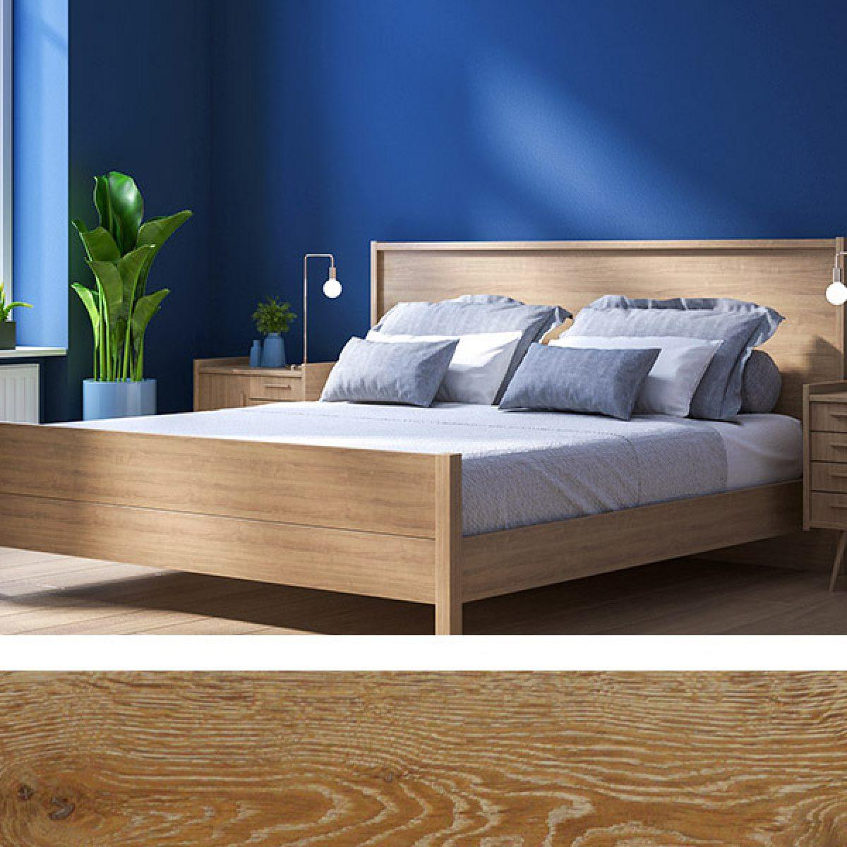 Sunstone brown wood flooring with Pantone Classic Blue in Bedroom
