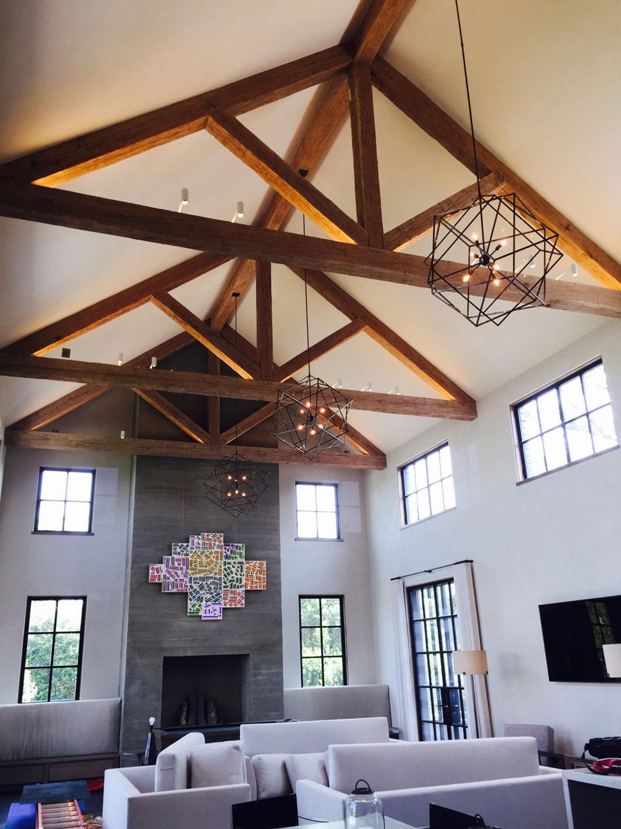 light brown wood beams