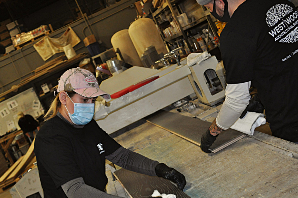 workers at West Wood finish mill on Long Island