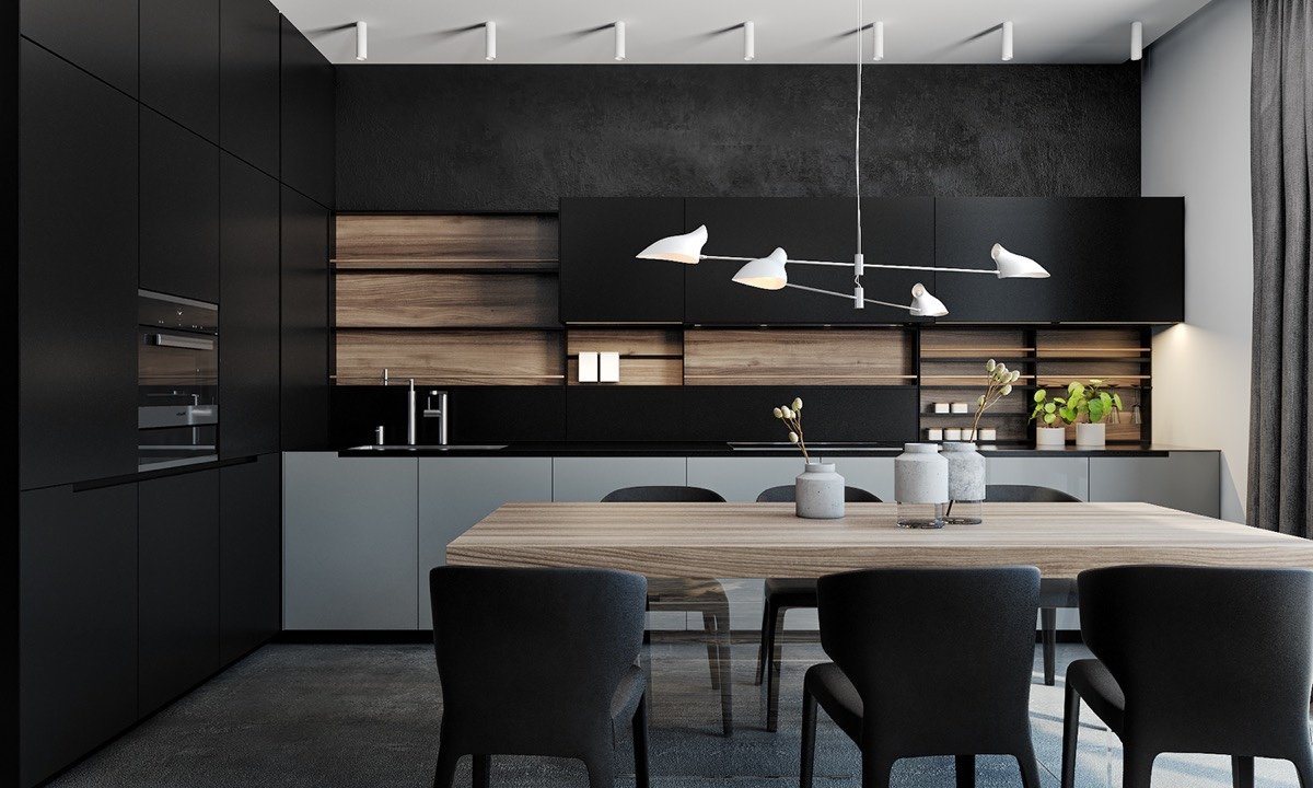black-wood-wall-panels-kitchen