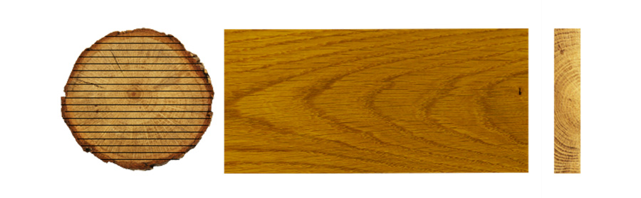 live sawn cuts of wood
