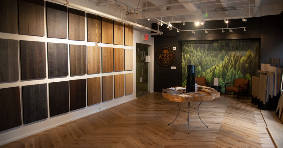 west wood nyc showroom color samples wall